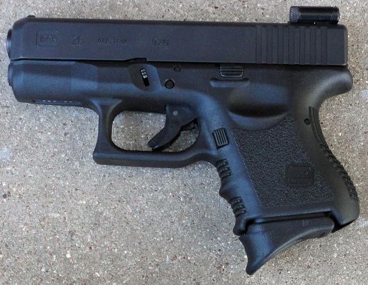 Glock 26 9mm, striker fired semiautomatic pistol