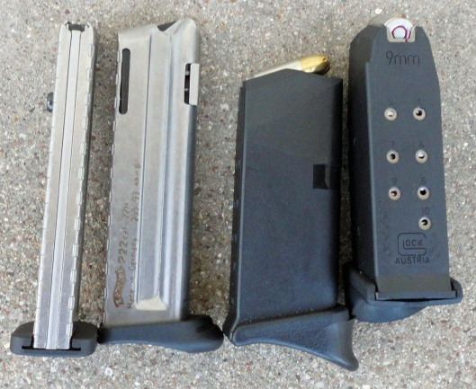 Walther P22 Magazines (left); Glock 26 magazines (right)