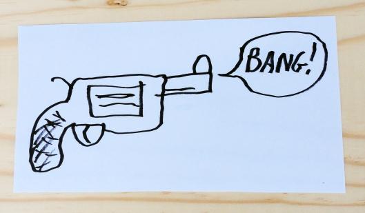 Double secret threatening and deadly paper assault gun