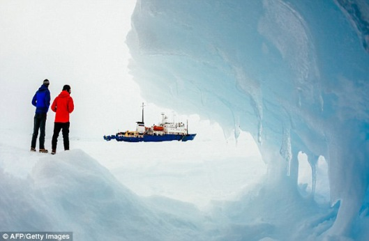 The ship, viewed from ice that shouldn't exist...