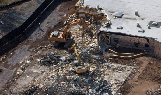 The demolition of Sandy Hook Elementary School