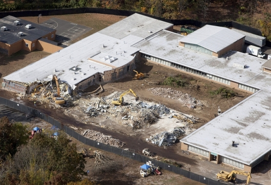 Sandy Hook Elementary School being demolished