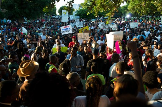 A protest in McKinney, TX credit: nyt