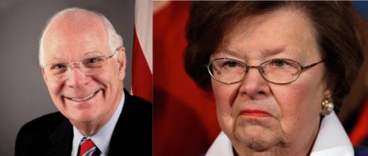 Sen. Ben Cardin (L) and Sen. Barbara McKulski (R) Democrats of Maryland