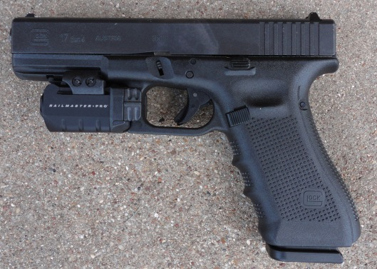 Glock 17 with Railmaster Pro (left side view)