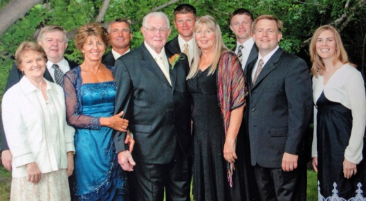 Cliff Holdeman (5th from left) with his children, some of their spouses and some of their children.