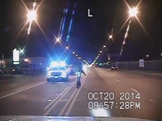 McDonald a second after pointing his knife at the police cruiser.
