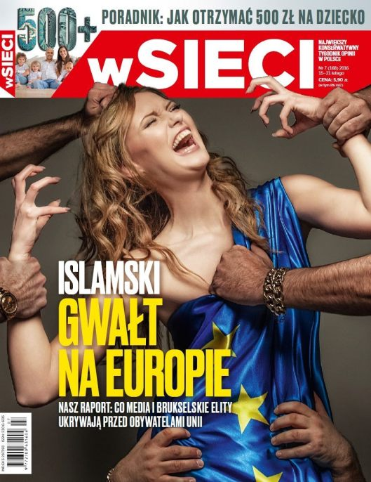 Cover of a Polish magazine depicting the Islamic rape of European women. credit: brietbart
