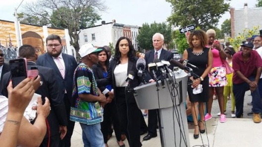 Mosby before the Freddie Gray mural. credit: wbaltv